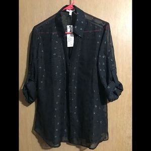 Express Sheer Polka Dot Portofino Shirt
